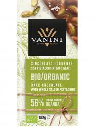 Vanini Uganda Bio 56%-os étcsoki sós pisztáciával 100 gr